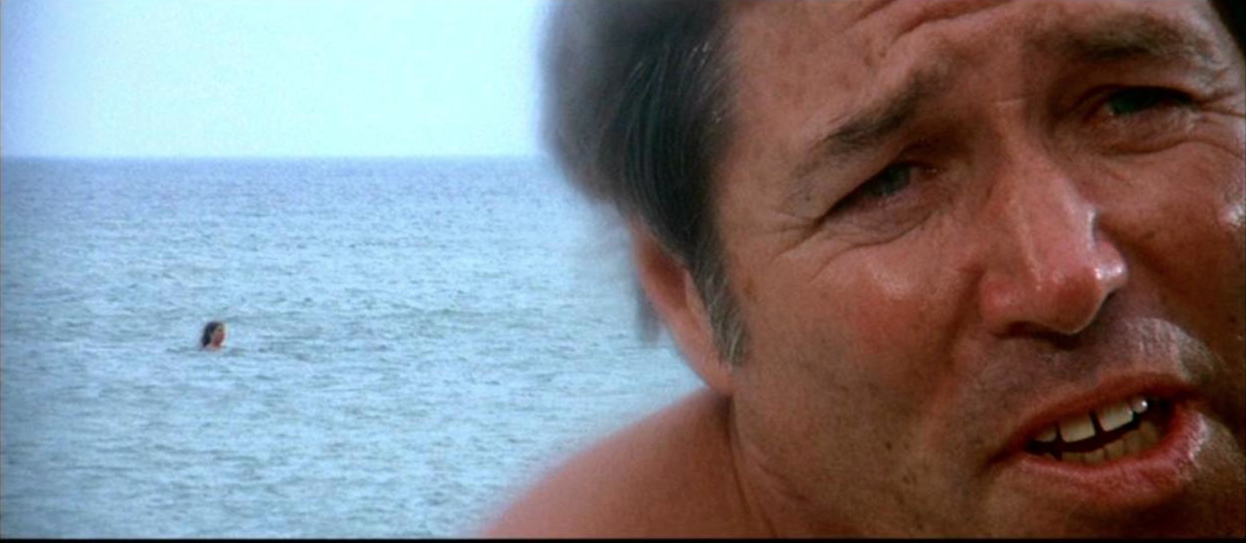 Spielberg uses the split diopter on this beach shot in Jaws