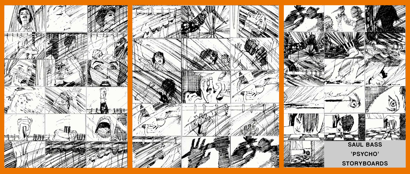 Saul Bass storyboards for Psycho