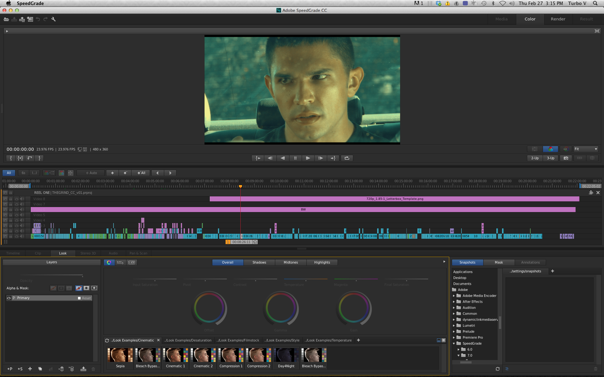 Working with LUTs in Adobe SpeedGrade CC