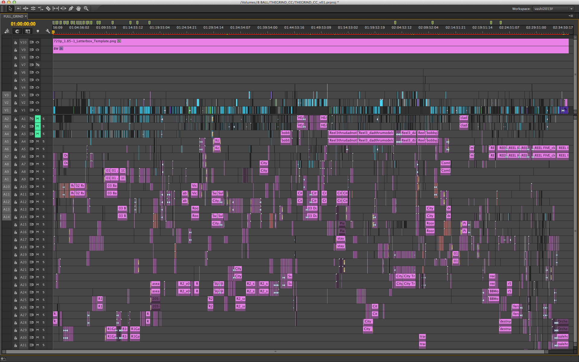 Full 95 minute timeline in Adobe Premiere Pro CC