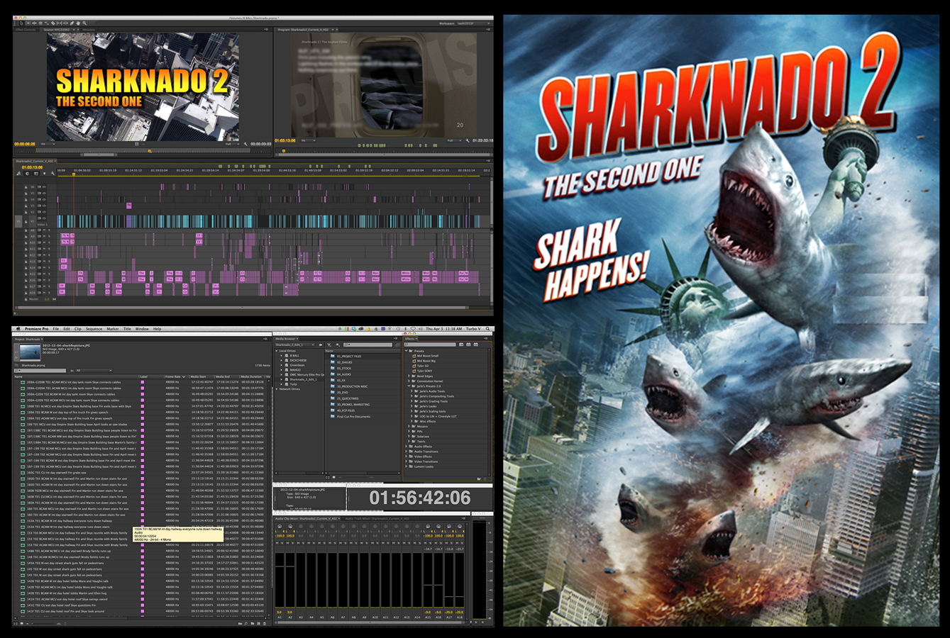 Sharknado 2 timeline in Adobe Premiere Pro