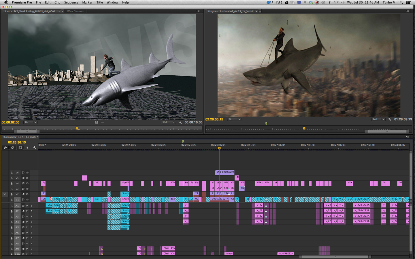 before and after of Sharknado 2 VFX
