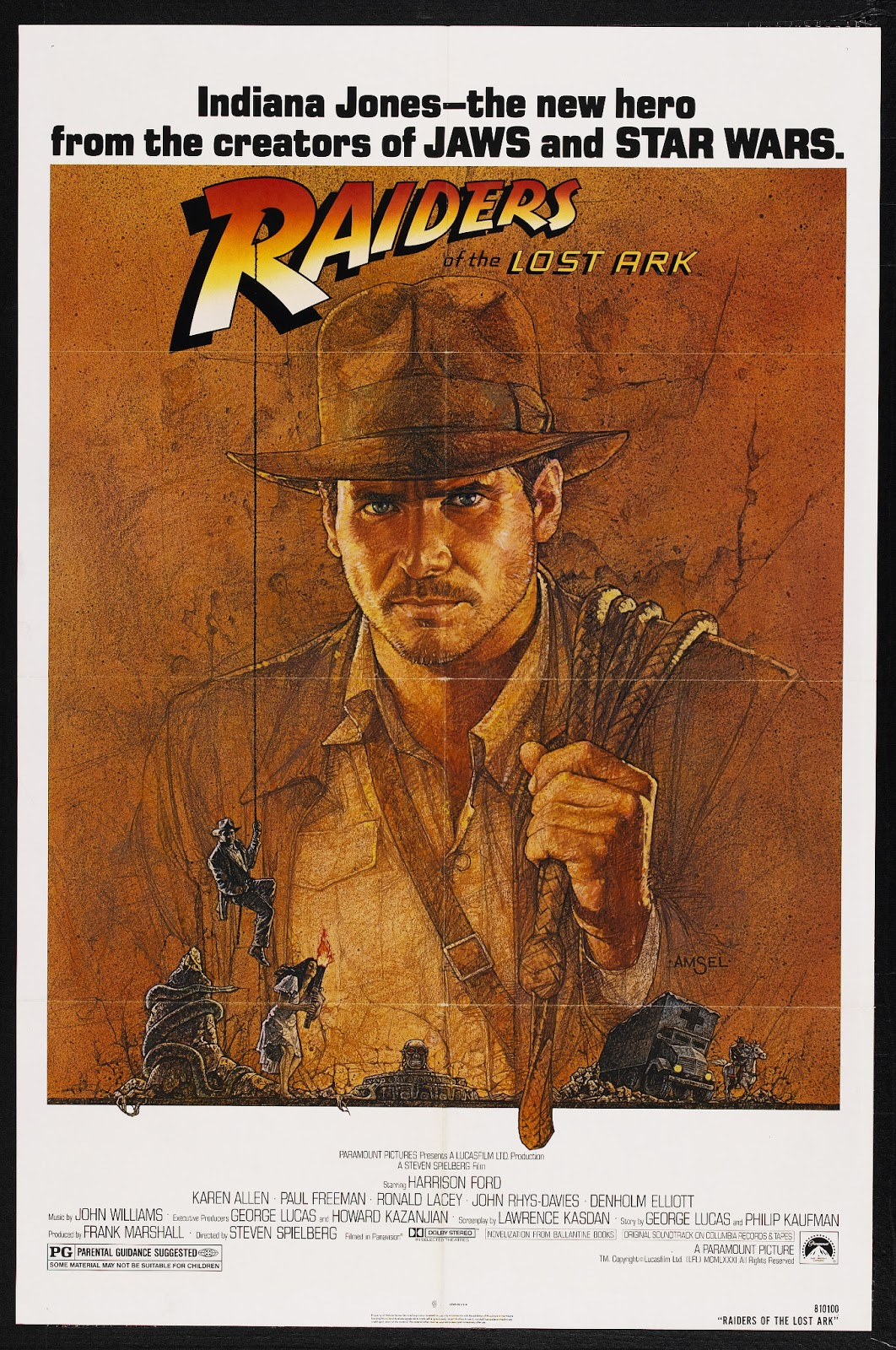 Original 1981 theatrical poster for Raiders of the Lost Ark