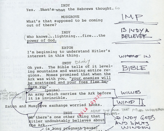 Harrison Ford's hand-written notes