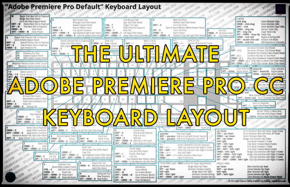 300+ keyboard shortcuts in this free Premiere Pro CC layout