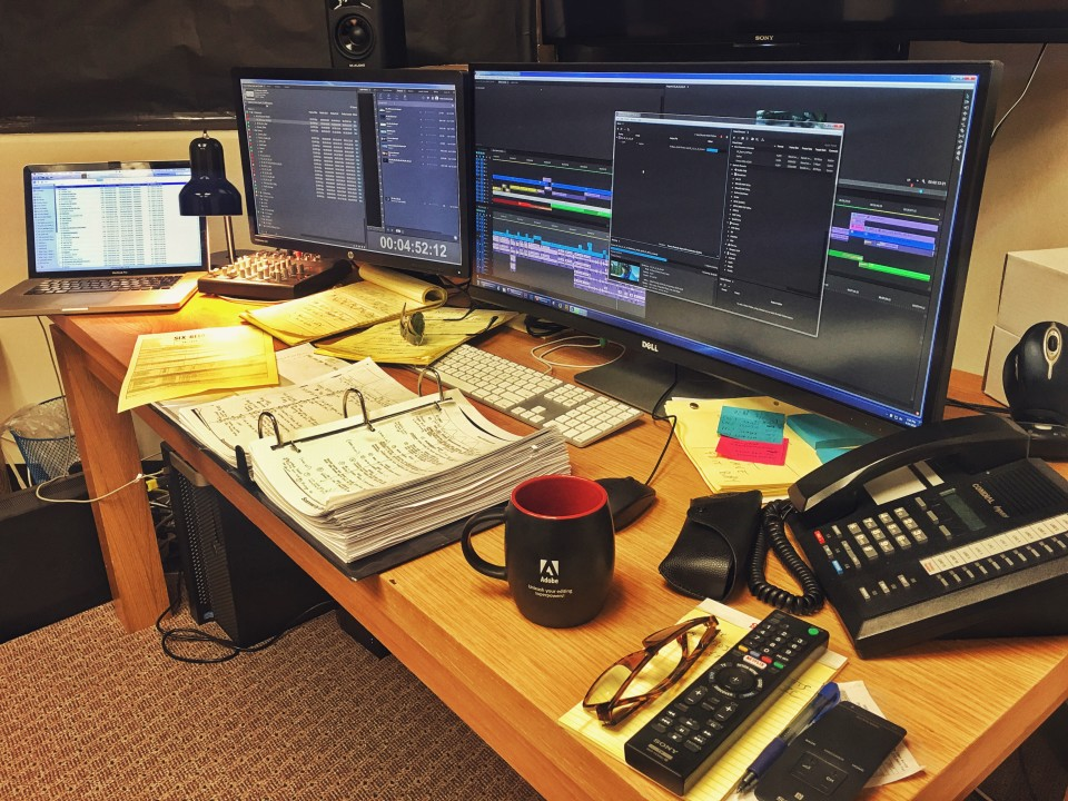 My work station after 5 weeks of editing 6 Below