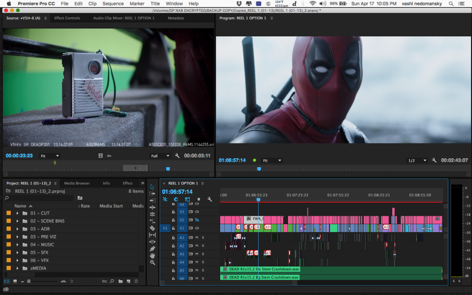 The actual Deadpool Premiere Pro Timeline of the Opening Freeway Scene.